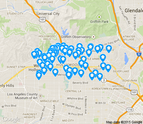 map of Hollywood apartments for rent