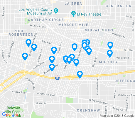 map of Mid City apartments for rent