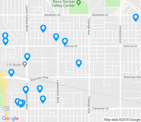 map of North Hollywood North East apartments for rent