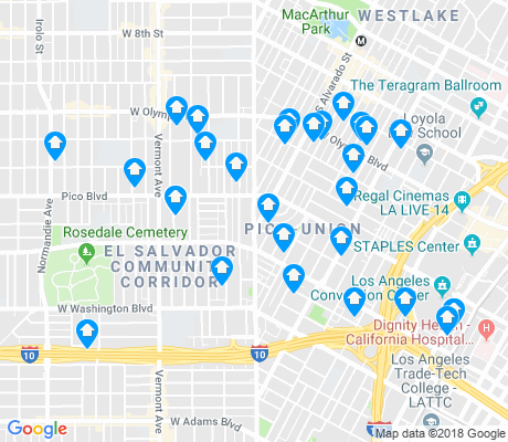 map of Pico Union apartments for rent