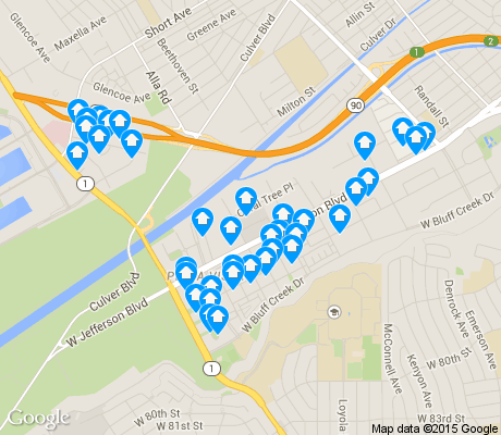 map of Playa Vista apartments for rent