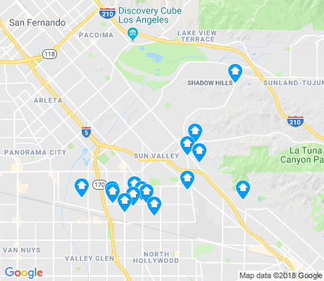 map of Sun Valley apartments for rent
