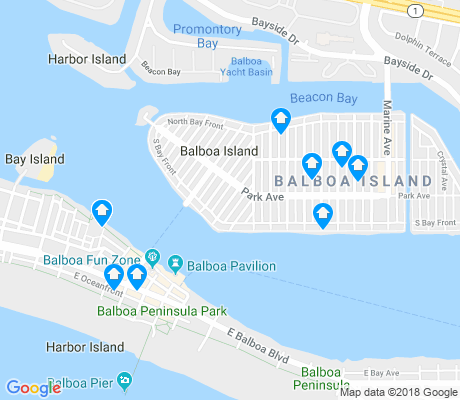map of Balboa Island apartments for rent