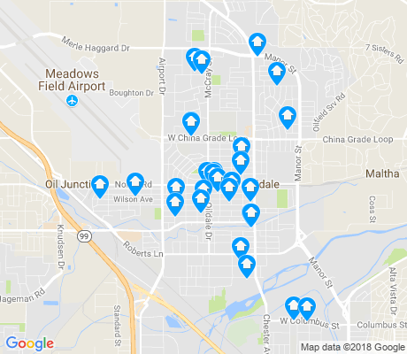 map of Oildale apartments for rent