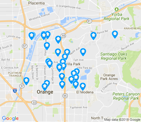 map of 92867 apartments for rent