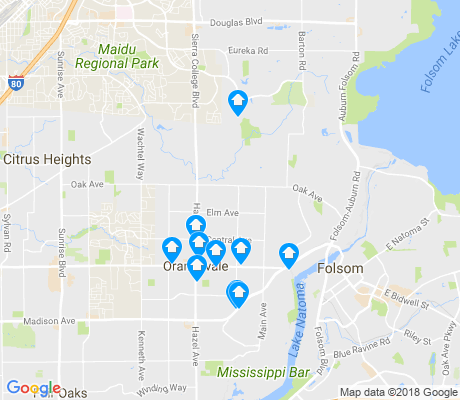 map of Orangevale apartments for rent