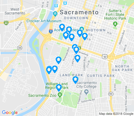 map of Land Park apartments for rent