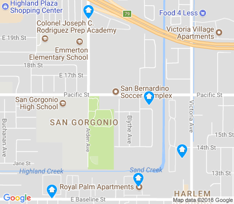 map of San Gorgonio apartments for rent