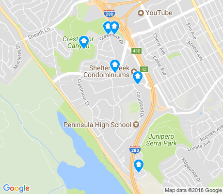 map of Crestmoor apartments for rent