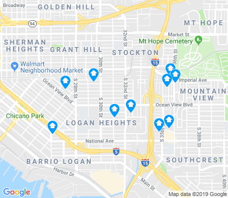 map of Barrio Logan apartments for rent
