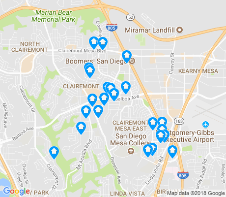 map of Clairemont Mesa East apartments for rent
