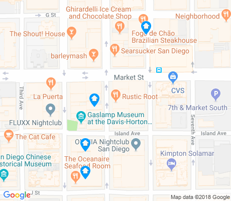 map of Gaslamp apartments for rent