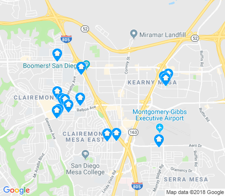 map of Kearny Mesa apartments for rent