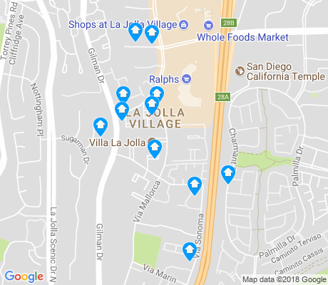 map of La Jolla Village apartments for rent