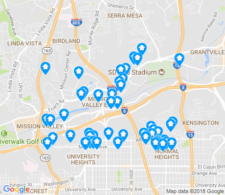 map of Mission Valley East apartments for rent