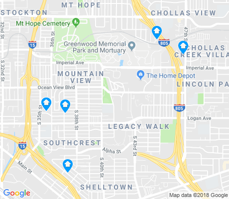 map of Mountain View apartments for rent