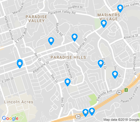 map of Paradise Hills apartments for rent
