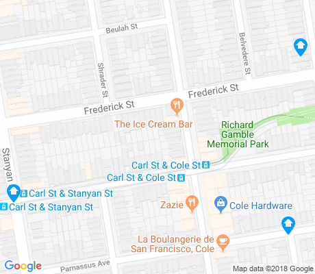 map of Cole Valley apartments for rent