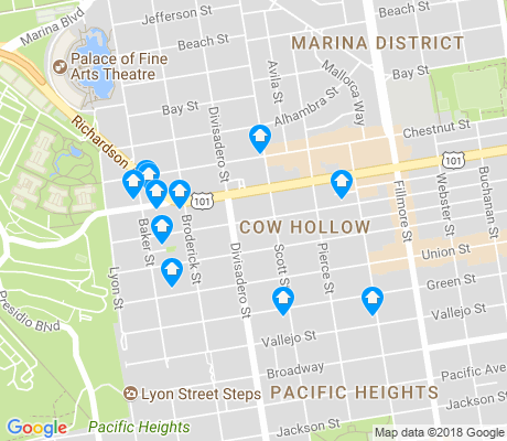 map of Cow Hollow apartments for rent