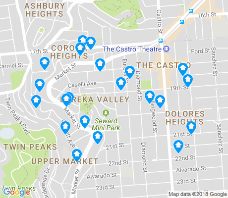 map of Eureka Valley apartments for rent