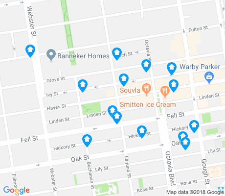 map of Hayes Valley apartments for rent