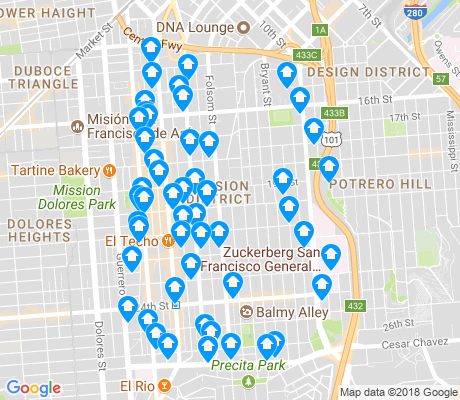 map of Mission District apartments for rent