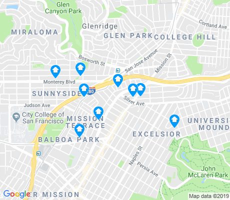 map of Mission Terrace apartments for rent