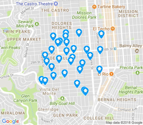 map of Noe Valley apartments for rent
