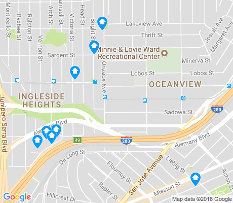 map of Outer Mission apartments for rent