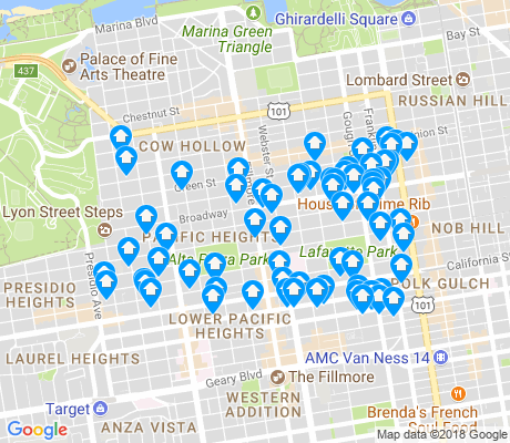 map of Pacific Heights apartments for rent