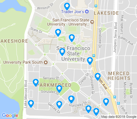 map of Parkmerced apartments for rent