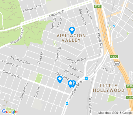 map of Visitacion Valley apartments for rent