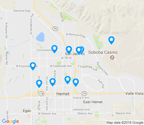 map of San Jacinto apartments for rent