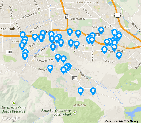 map of Almaden Valley apartments for rent