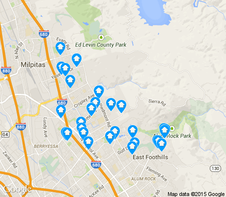 map of Berryessa apartments for rent
