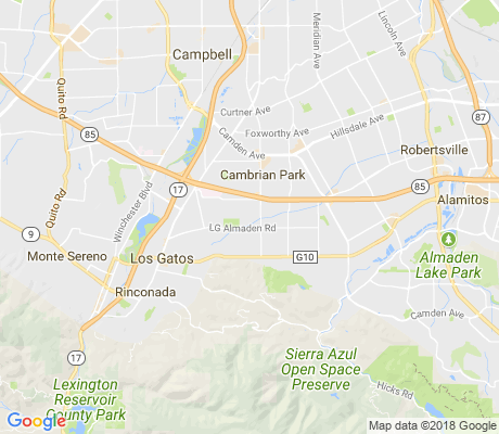 map of Los Gatos apartments for rent
