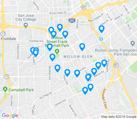map of Willow Glen apartments for rent