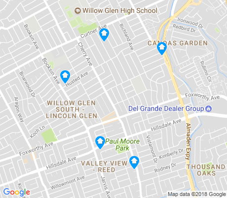 map of Willow Glen South-Lincoln Glen apartments for rent
