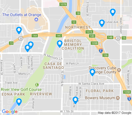 map of Northwest Santa Ana apartments for rent