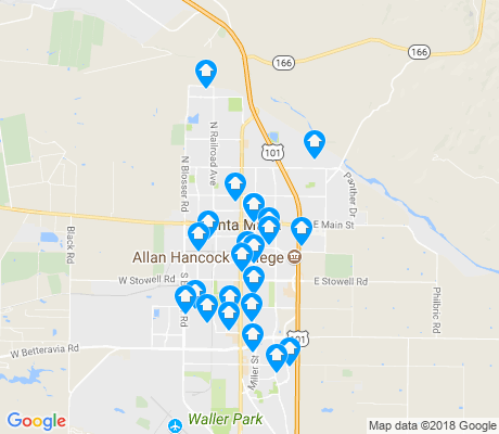 map of Santa Maria apartments for rent