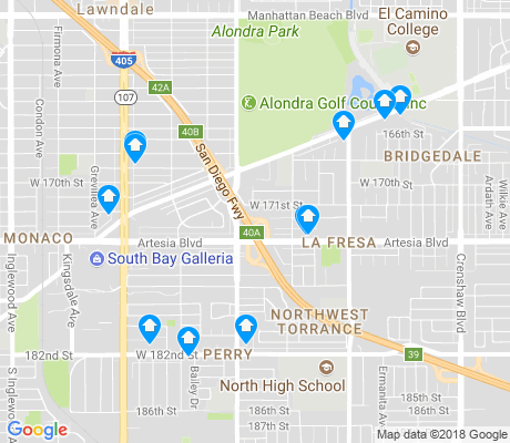 map of Northwest Torrance apartments for rent