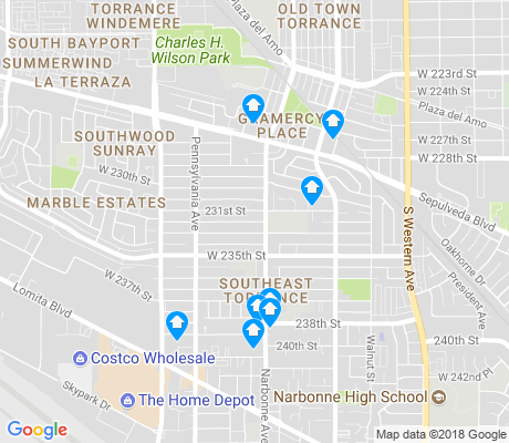 map of Southeast Torrance apartments for rent