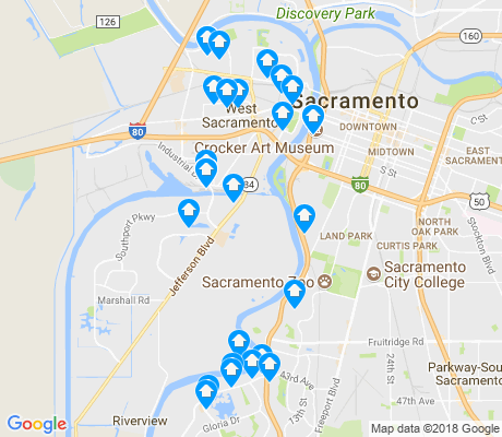 map of West Sacramento apartments for rent