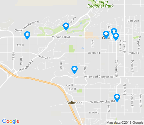 map of Central Yucaipa apartments for rent