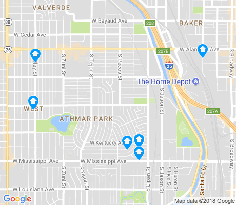 map of Athmar Park apartments for rent