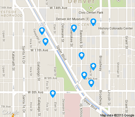 map of Civic Center apartments for rent