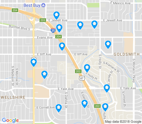 map of University Hills apartments for rent