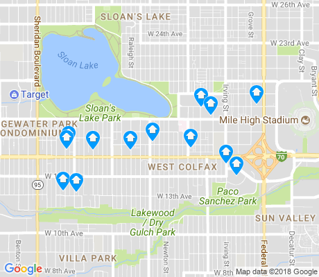 map of West Colfax apartments for rent