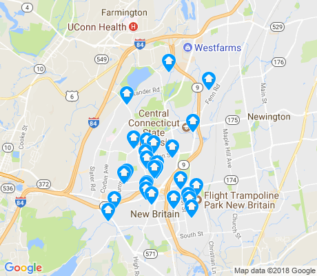 map of New Britain apartments for rent