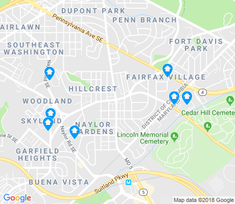 map of Hillcrest - Fairfax Village apartments for rent